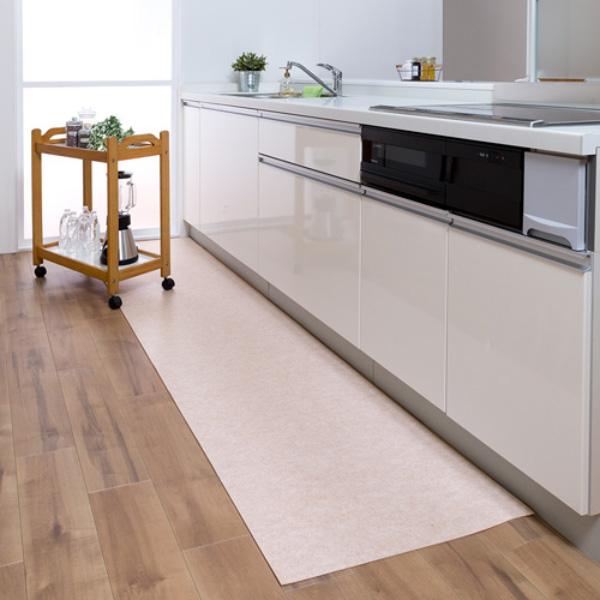 サンコー おくだけ吸着 吸着拭けるキッチンマット60×240cm 無地 厚み2mm ベージュ/ブラウン 日本製