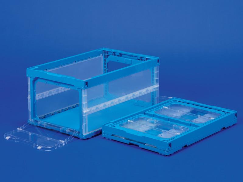 折りたたみ収納ボックス・収納ケースP75B-S(両短側扉あり) <外寸>64.9×43.9×32.7cm