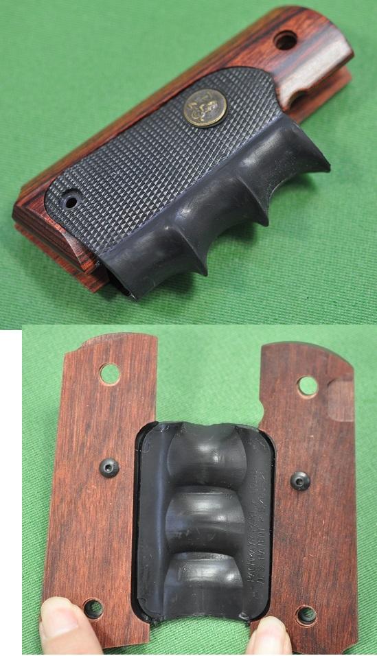 Handgun wooden rosewood & rubber ALS-00423 for the Pachmayr pack Mayer ALS  grip 1911 series