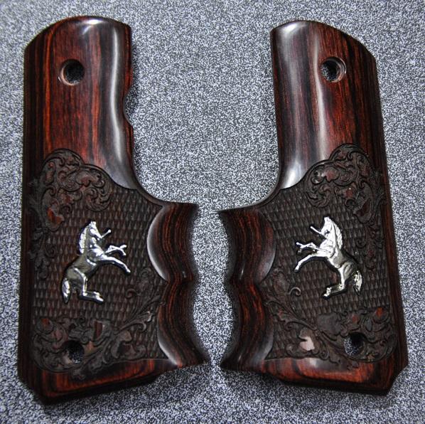 Altamont グリップ ALT-13000 GM Colt1911 シルバーインレイ フルサイズ フルサイズ 赤茶 Colt1911 フィンガーチャネル付き ALT-13000, グリップスポーツ:aa36a37b --- sunward.msk.ru