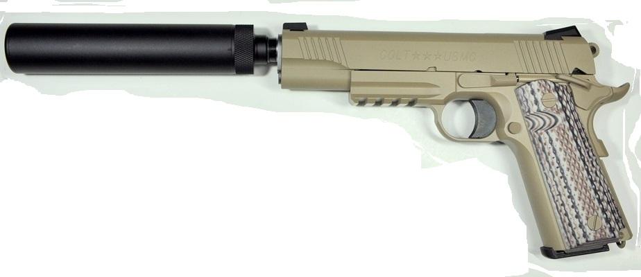 【カスタム完成品】COLT 45A1 サイレンサーカスタム マルイ ガスブローバック ベース 25500