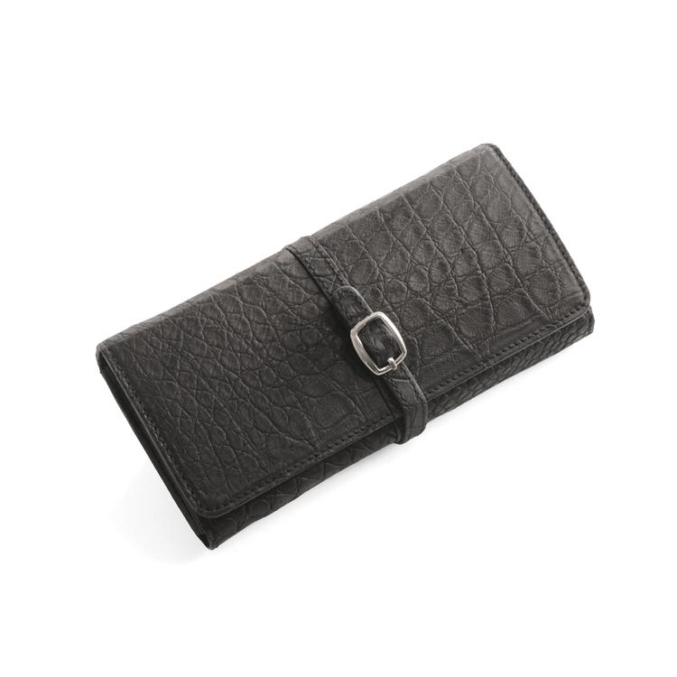 クロコダイル 長財布 マット 加工 ベルト デザイン/レディース ブラック 黒 送料無料