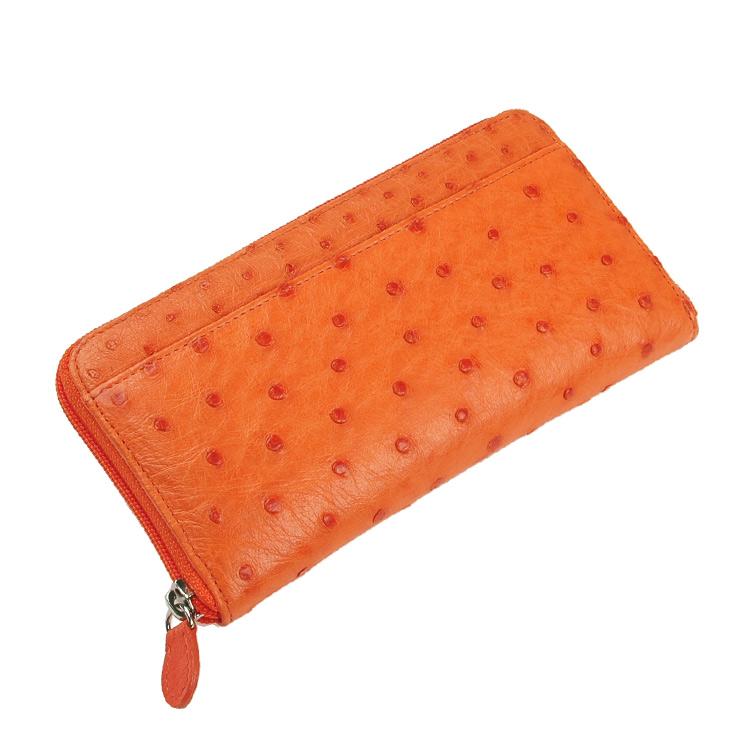 オーストリッチ 長財布 フルポイント ラウンドファスナー/レディース オレンジ 黄色 送料無料 贅沢仕立てのオーストリッチレディース長財布 クイルマークが表面にも裏面にも綺麗に並んだフルポイント仕立てです (No.37