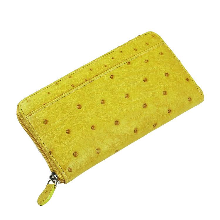 オーストリッチ 長財布 フルポイント ラウンドファスナー/レディース イエロー 黄色 送料無料 贅沢仕立てのオーストリッチレディース長財布 クイルマークが表面にも裏面にも綺麗に並んだフルポイント仕立てです (No.37 ギフト (No.3718-zz-yelr)