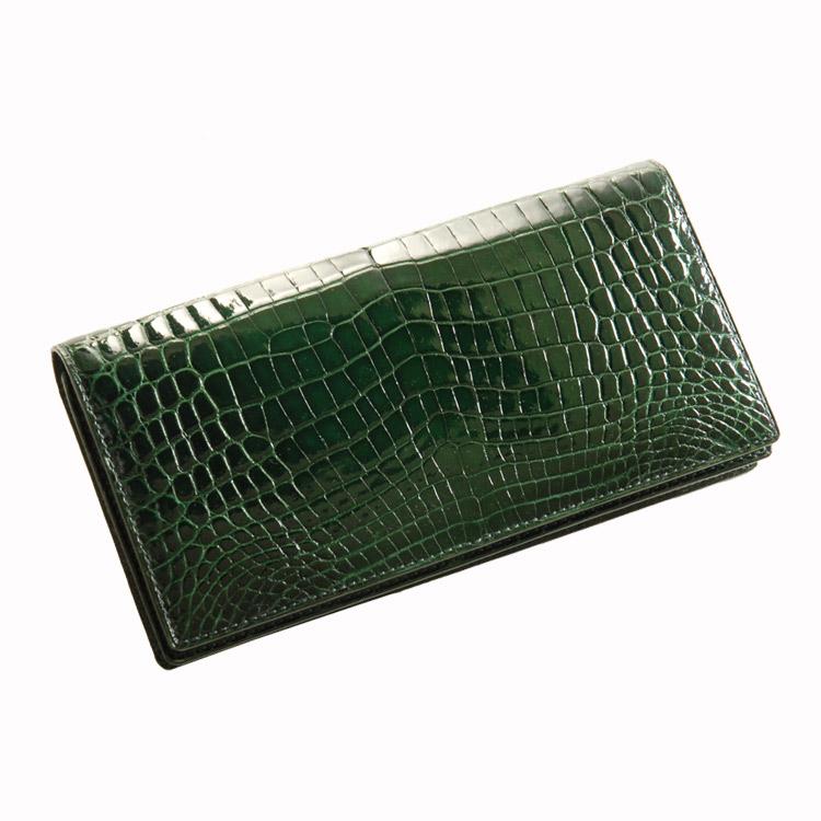 クロコダイル 無双 長財布 シャイニング加工 センター取り/メンズ/レディース カラー:キプロス[グリーン(緑色)] 送料無料