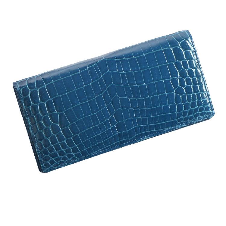 クロコダイル 無双 長財布 シャイニング加工 センター取り/メンズ/レディース カラー:ロイヤルブルー[ブルー(青色)] 送料無料 ギフト (No.3939sf-1-zz-rblur)