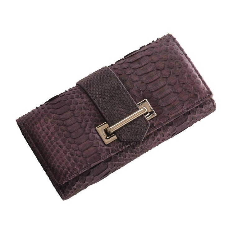 パイソン 長財布 ベルトデザイン/レディース バイオレット 紫 バイオレット 送料無料 多機能財布繊細な表情の本革 パイソンをスタイリッシュなデザインで使用しました (7191-zz-vltr) 長財布 レディース ギフト