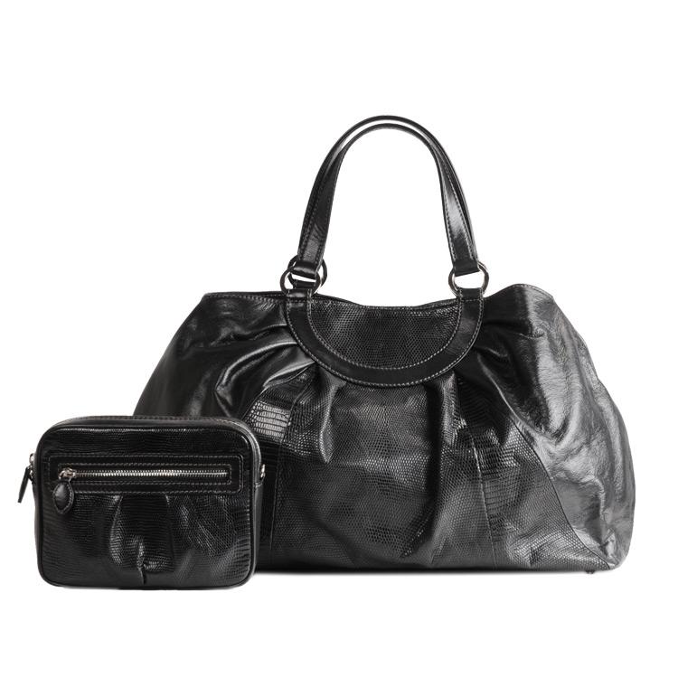 リザード&カウハンドバッグ オマケ付き a4 対応 ブラック 黒 ブラック バッグ 本革 軽量 ギフト (7264-zz-bkr) リアルレザー