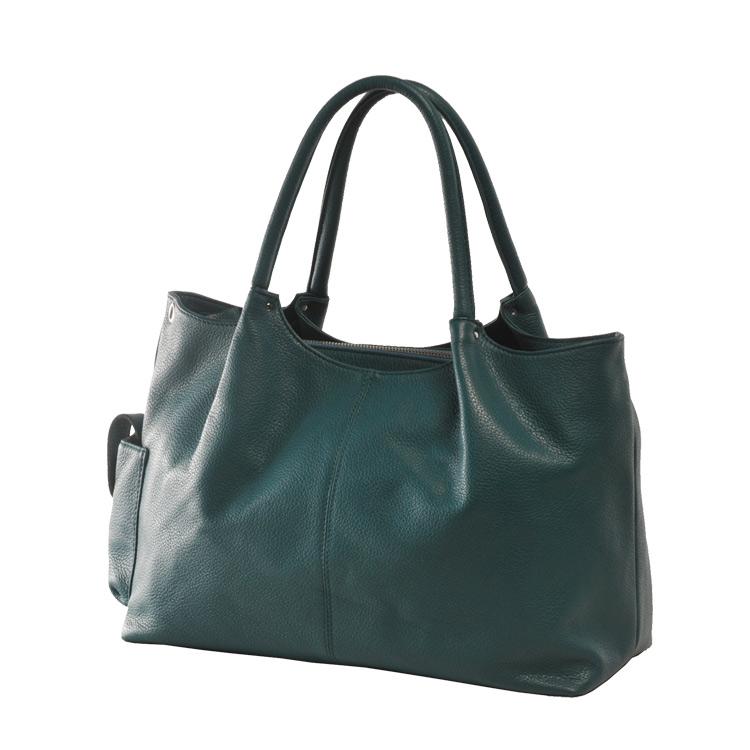 Jamale ブランド 日本製 牛革バッグ ハンドバッグ 2way レディース 本革 ビリジアングリーン 緑ショルダーベルト付きで斜め掛けもOK A4サイズが入る使いやすい本革バッグ (No.7346)リアルレザー 送 ギフト
