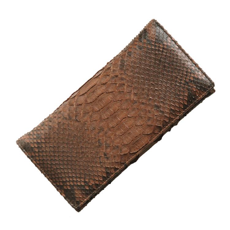 ダイヤモンドパイソン 長財布/レディース メンズ ブラウン 茶色 送料無料 ダイヤモンドパイソンの美しい鱗模様と滑らかで優しい手触り 迫力の素材感で手元を彩ります(No.7430)