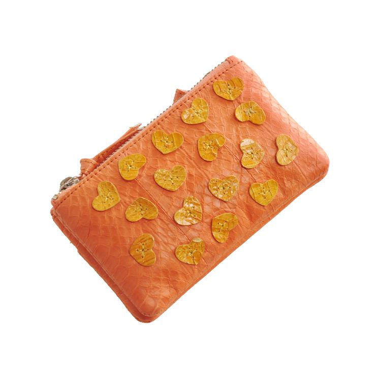 ウォーター パイソン ダブルポケット 小銭入れ ハート デザイン 多機能 小物入れ レディース オレンジ 黄色コインケース カードケース アクセサリーケースなど 様々な使い方が出来る小物入れ(7446-zz-orgr) クリスマス ギフト
