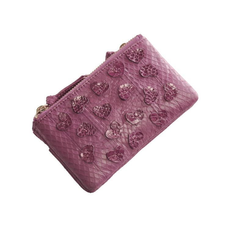 ウォーター パイソン ダブルポケット 小銭入れ ハート デザイン 多機能 小物入れ レディース パープル 紫 バイオレットコインケース カードケース アクセサリーケースなど 様々な使い方が出来る小物入れ(7446-zz クリスマス ギフト