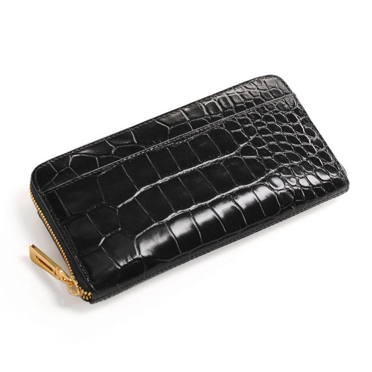 牛革 長財布 クロコダイル 型押し ラウンド ファスナー/イタリア製牛革/レディース ブラック 黒 送料無料 クロコダイル型押しのイタリア製牛革を使用 スタイリッシュに持てるラウンドファスナー式の長財布です (No.7 ギフト