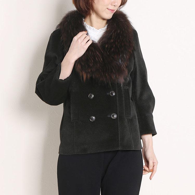 アンゴラ混 ダブル ジャケット ラクーン ファー トリミング 11号 Lサイズ チャコールグレー 灰色 鼠色 秋 冬