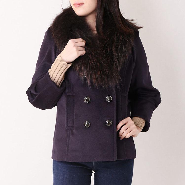 アンゴラ混 ダブル ジャケット ラクーン ファー トリミング 9号 Mサイズ バイオレット 紫 バイオレット 秋 冬
