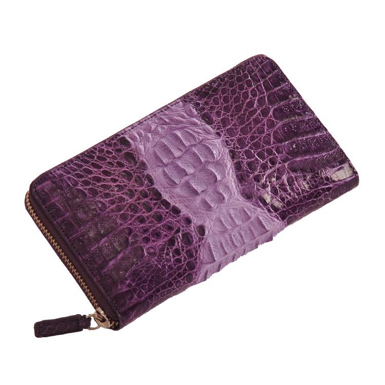 カイマン(頭) ラウンドファスナー 長財布 シャイニング加工 紳士用 バイオレット 紫 バイオレット 送料無料お財布プレゼントにも最適 ラウンドファスナー 本革 長財布 (309113-zz-vltr) 送料無料