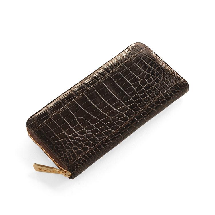 クロコダイル 長 財布 マット 加工 真鍮 ラウンド ファスナー/レディース ダークブラウン 茶色 送料無料 ギフト
