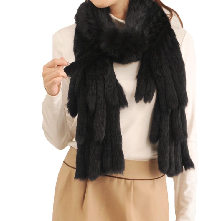 モンゴル ラビット 編み込み マフラー フリンジ デザイン 毛皮 ファー ブラック 黒ファーマフラー 毛皮 ブラック 軽量ギフト (8670-zz-blkr) マフラー クリスマス ギフト