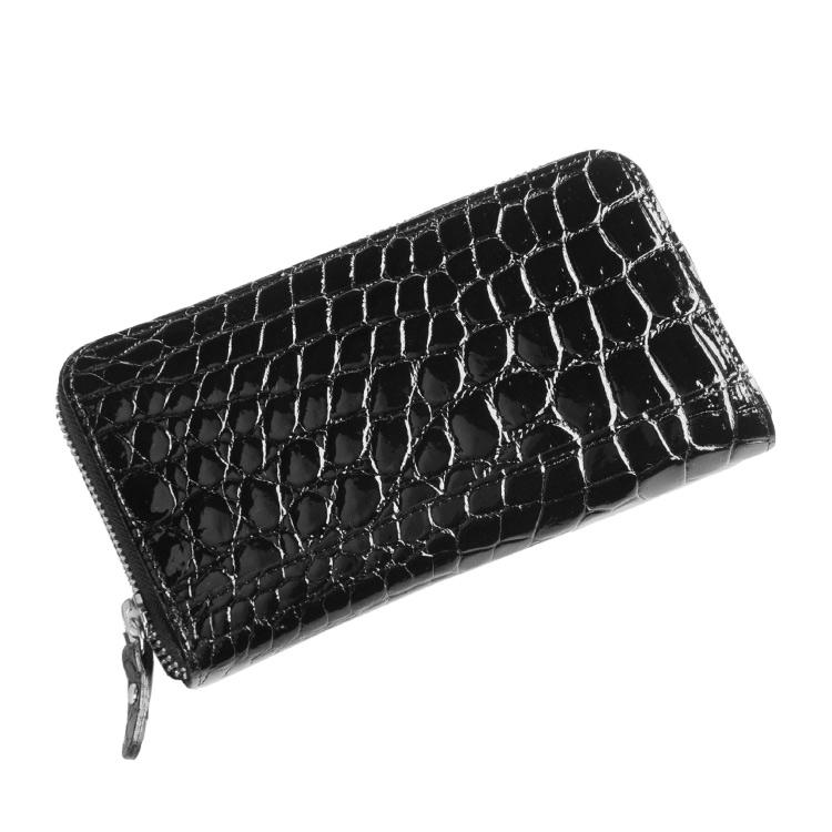 クロコダイル 長財布 ラウンド ファスナー シャイニング 加工 日本製/レディース ブラック 黒 送料無料