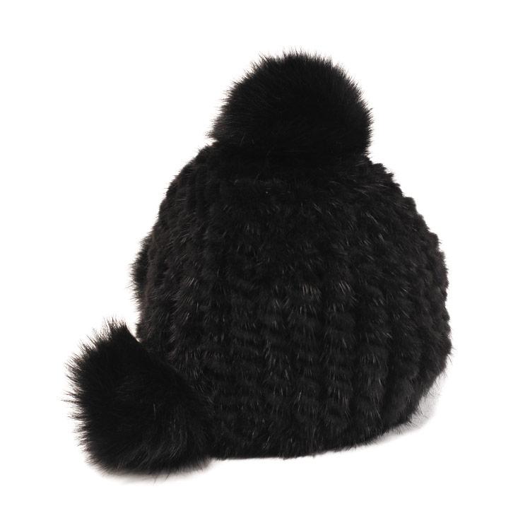 ミンク 帽子 編み込み ボンボン付き/レディース 毛皮 ブラック 黒 頭のお洒落もミンクでキメる フォックスファーのボンボンが個性的な帽子 ミンクファー リアルファー キャップ ニット帽ギフト (0100031 ギフト (No.01000312-zz-blkr)