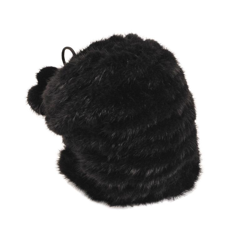 ミンク 帽子 編み込み ワッチキャップ ボンボン付き/レディース 毛皮 ブラック 黒 送料無料
