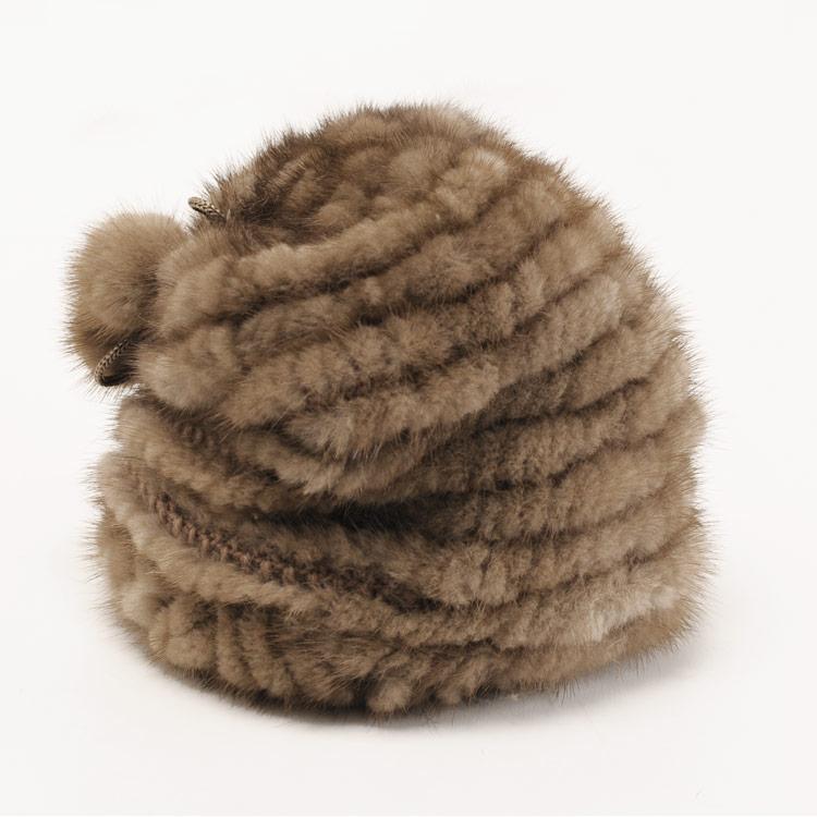 ミンク 帽子 編み込み ワッチキャップ ボンボン付き/レディース 毛皮 モカブラウン 茶色 送料無料