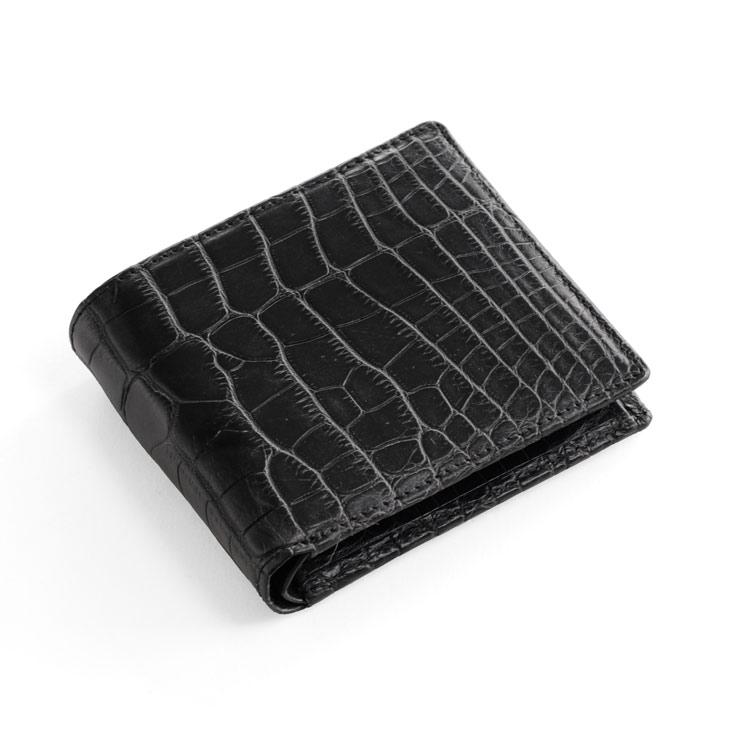 数量限定価格 アリゲーター 折り財布 無双 マット加工 一枚革/メンズ 小銭入れ付き 黒 送料無料