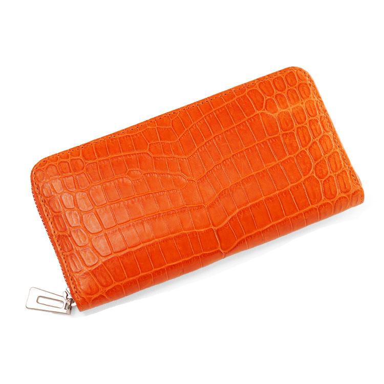 クロコダイル 長財布 レディース 本革 ワニ革 ラウンドファスナー マット加工 バイカラー オレンジ 黄色 送料無料 落ち着いた雰囲気のマットクロコダイルの革をセンター取りの一枚革で贅沢に使用しました バイカラーで日常