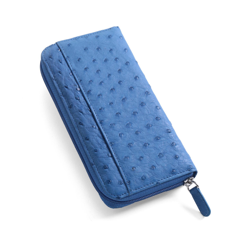 オーストリッチ ラウンドファスナー 長財布 ブルー 青上質なオーストリッチの革を使用したこだわりのラウンドファスナー財布 シンプルなデザインで使いやすい長財布 (3122-zz-blur) ギフト (No.3122-zz-blur)