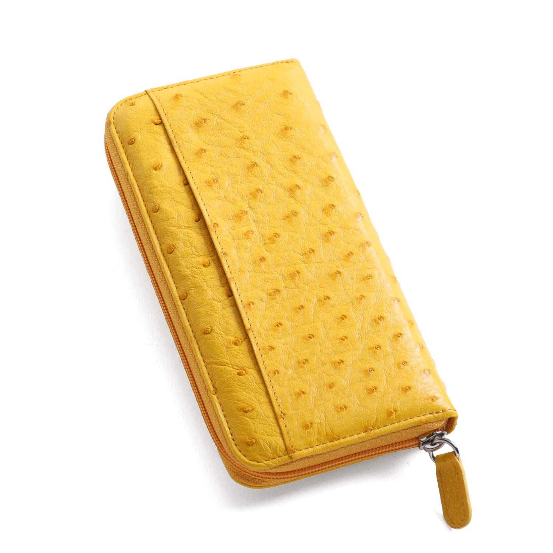 オーストリッチ ラウンドファスナー 長財布 イエロー 黄色上質なオーストリッチの革を使用したこだわりのラウンドファスナー財布 シンプルなデザインで使いやすい長財布 (3122-zz-yelr) ギフト