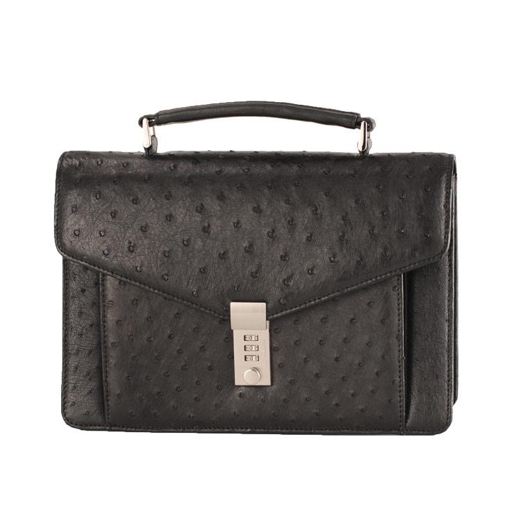 オーストリッチ メンズ バッグ キー 付き ビジネス セカンド ブラック 黒 ビジネスシーンに最適なメンズセカンドバッグ キー付きで (9136-zz-blkr) リアルレザー
