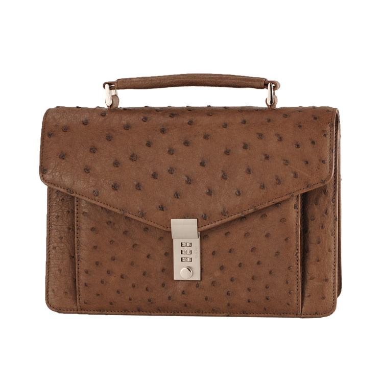 オーストリッチ メンズ バッグ キー 付き ビジネス セカンド カンゴ 茶色 ビジネスシーンに最適なメンズセカンドバッグ キー付きで (9136-zz-kngr) リアルレザー