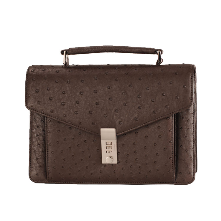 オーストリッチ メンズ バッグ キー 付き ビジネス セカンド ニコチン 茶色 ビジネスシーンに最適なメンズセカンドバッグ キー付きで (9136-zz-nicr) リアルレザー ギフト