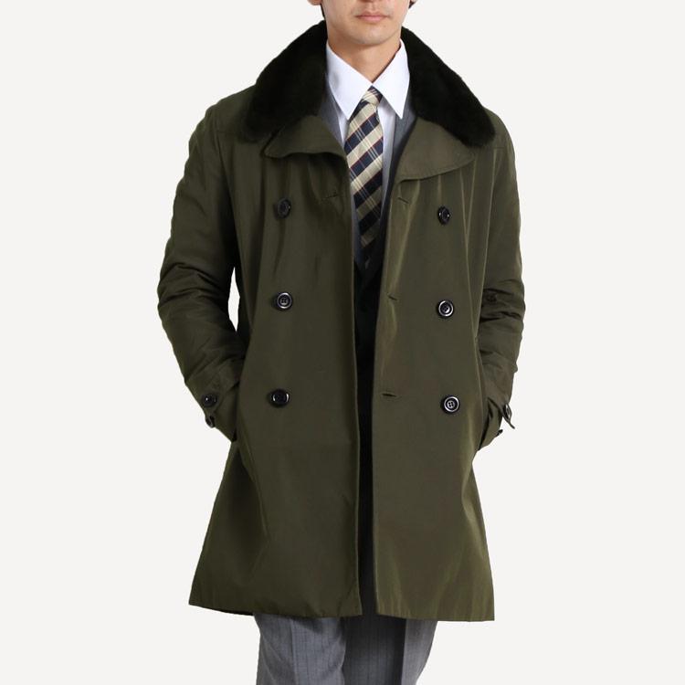 トレンチコート ミンク襟 ウィーゼルライナー付き 着丈90cm/メンズ 50インチ Lサイズ カーキ 緑 活躍度の高いトレンチコートを 贅沢な素材で仕立てました センターベンツがあり機能性にも優れています (N ギフト (No.01000233-zz-50-kakr)