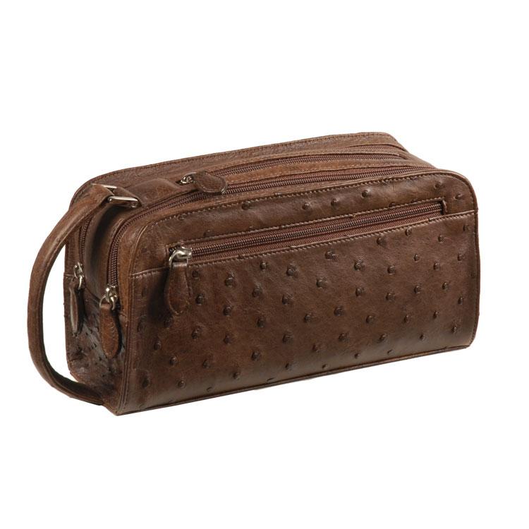 しっかりとした収納力の 個性を引き立てるオーストリッチバッグ 祝日 新作 人気 セカンドバッグ ギフト オーストリッチ セカンド バッグ No.9955-zz-kngr Wファスナー メンズ 紳士 茶色 カンゴ
