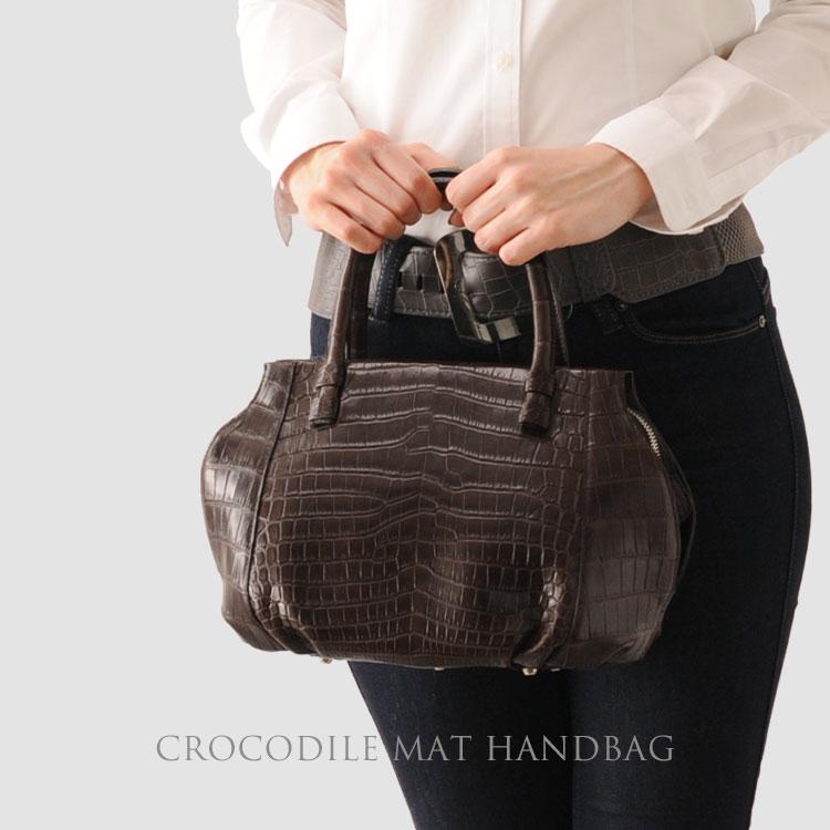 クロコダイル ハンドバッグ マット加工 2way/レディース  鞄 A4 通勤バッグ ショルダー バッグ クロコハンドバック ギフト ワニ革 安心 保証書 付き