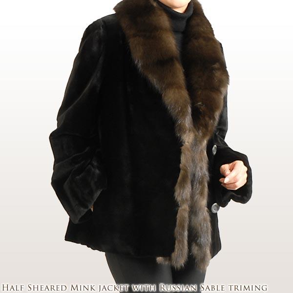 シェアードミンクジャケット ロシアン セーブル トリミング レディース ロシアンセーブル 毛皮 ファー 毛皮[カラー:ブラック(黒色)] 秋 冬 ギフト プレゼント ギフト (No.103135r)
