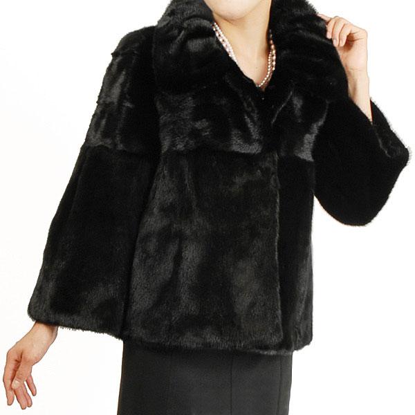 ブラックミンク ショートジャケット レディース 結婚式 毛皮 ファー 毛皮[カラー:ブラック(黒色)] 秋 冬 ギフト プレゼント ギフト (No.103717r)
