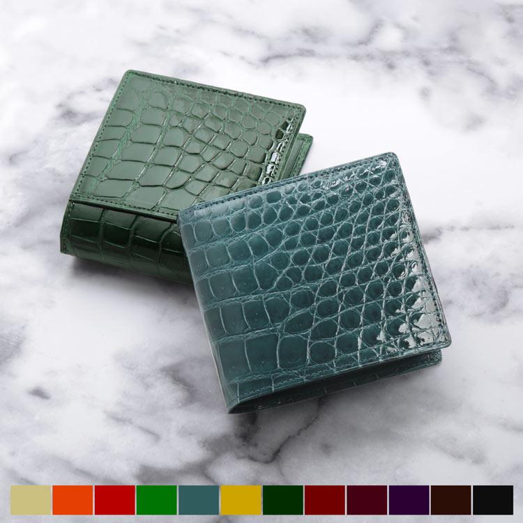 f42e91772766 クロコダイル 折り財布 シャイニング加工 毛皮のコート 日本製 ボックス ...