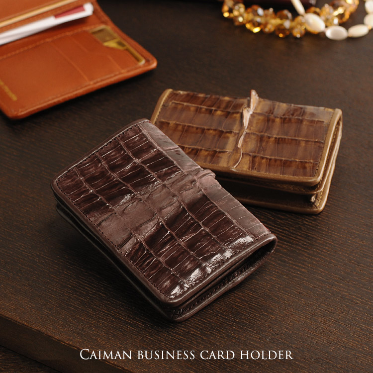 cayman card case shining ladies leather business card card case leather leather crocodile leather crocodile - Leather Business Card Holder