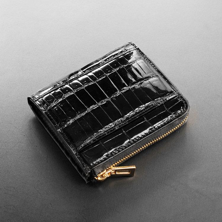 ヘンローン社製 原皮 クロコダイル L字ファスナー コンパクト 財布 パールゴールド メンズ ブラック カード収納8枚 ワニ革 送料無料 二つ折りでお札が入る。背面には収納ポケット付き。 ワニ革のお財布。本革 男性
