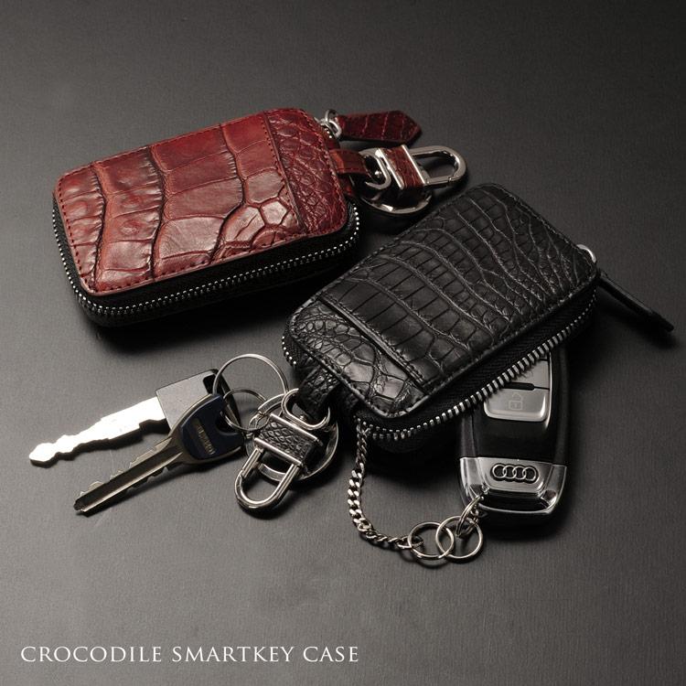 クロコダイル スマートキー ケース アウトポケット付き カバー マット 加工 ヘンローン メンズ 全11色 ワニ革 ギフト プレゼント