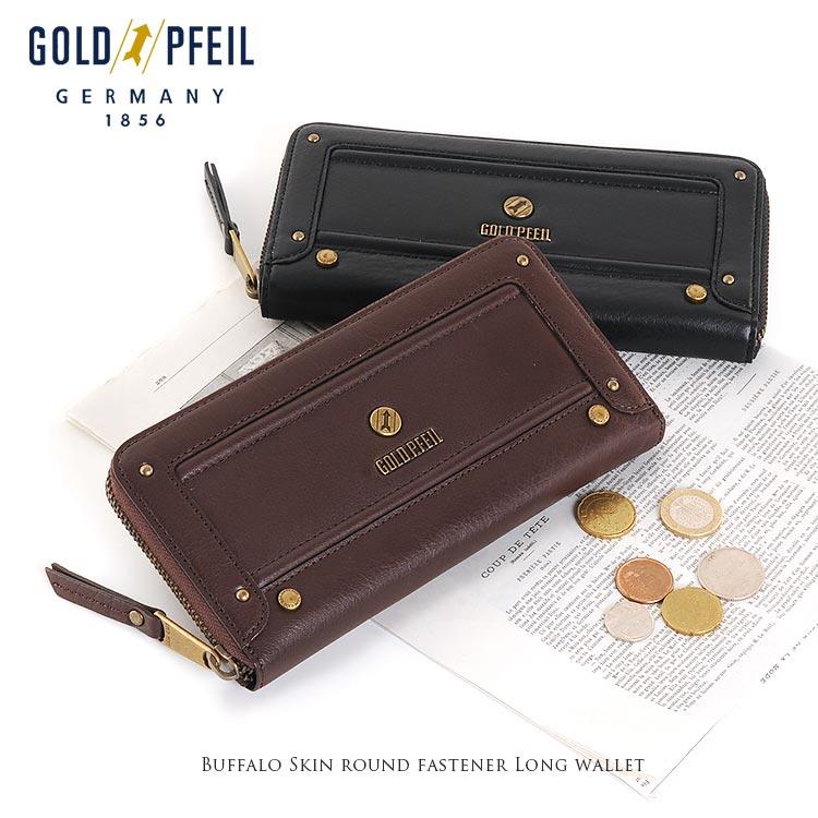 GOLD PFEIL ゴールドファイルバッファロー 革 ラウンドファスナー 長財布 ギフト 春財布 母の日 プレゼント 花以外 サイフ