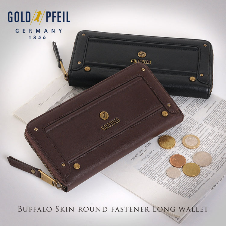 GOLD PFEIL ゴールドファイル バッファロー 革 ラウンドファスナー 長財布 メンズ ギフト プレゼント 春財布 サイフ