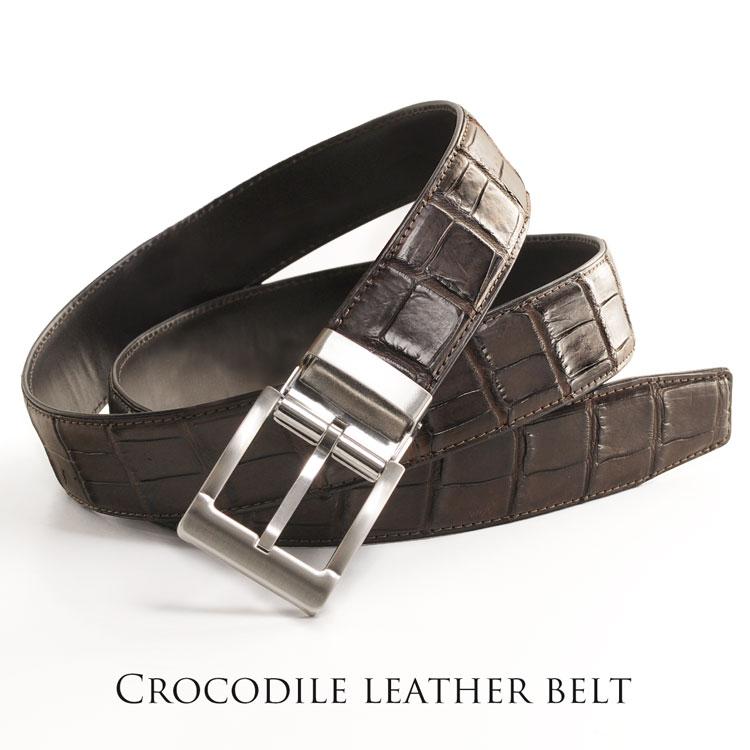 クロコダイル 35mm ベルト ピンタイプ メンズ ダークブラウン/ブラック ワニ革 存在感抜群の極上皮革のクロコダイルレザーを使用しました ファッションの主役級 メンズ レザー ベルト (06 ギフト プレゼント