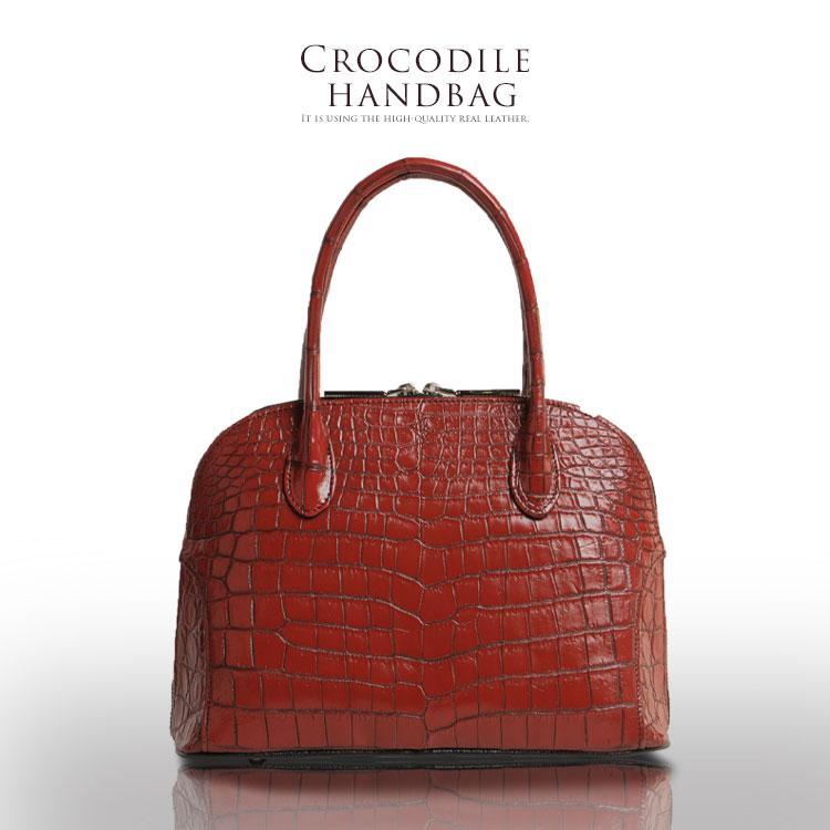 クロコダイル バッグ レディース 日本製 センター取り 全5色 クロコ ハンドバッグ 鞄 上質 安心 保証書 付き ギフト 母の日 プレゼント 花以外