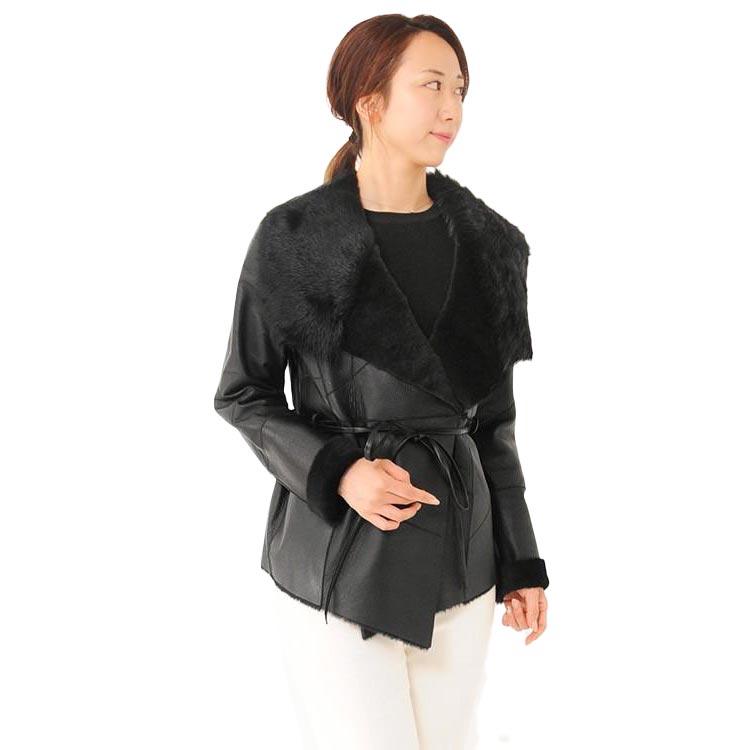 【1点限り】 ムートン コート Wフェイス レディース ブラック/M ギフト (No.1100-100r)