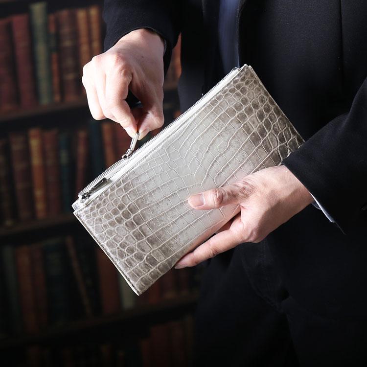 ヒマラヤ クロコダイル ダブルファスナー メンズ 長財布 センター取り 一枚革 大きい 手帳型 クラッチバッグ 本革 安心 保証書 付き フルオープン 春財布