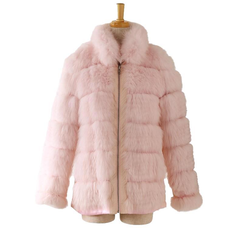 【訳あり】フォックス ファー リバーシブル コート ファージャケット ピンク フリーサイズ (1100-106r)