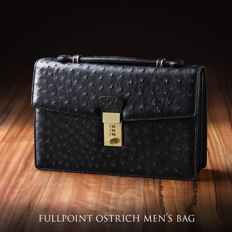 オーストリッチ セカンドバッグ 鍵付き ブラック オーストリッチバッグ ダイヤルロック 仕切り 男性 ビジネスバッグ 鞄 メンズバッグ 仕事 男性 プレゼント ギフト 父の日 (3879br)